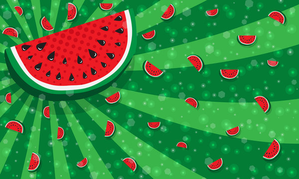 Slices of watermelon on green color background from rays, stripes, like texture of rind of watermelon. With many tiny glowing pieces, bokeh. Concept of Hello Summer. Fruit abstract background, vector