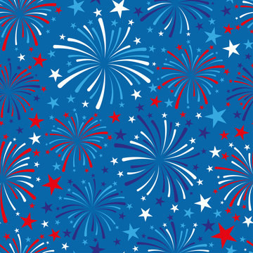vector 4th of July seamless pattern with fireworks