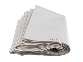 Blank newspaper with copy space isolated on white background.