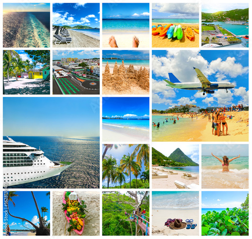 Collage from views of the Caribbean beaches