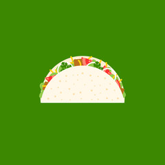 Beef Taco icon, Mexican food, flat design vector