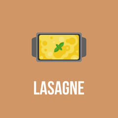 Lasagne logo, Italian cuisine, flat design vector