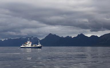 Lonely fishingboat at sea