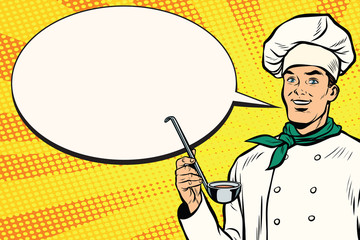 Caucasian chef with ladle for cooking, comic bubble