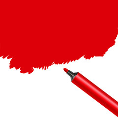 Red marker pen spot isolated on a white background. Scribble stain artistic artwork