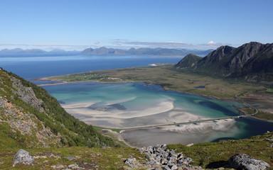 Views from mountain Matmora (500m), Laukvik, Lofoten, Norway