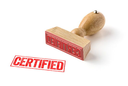 A rubber stamp on a white background - Certified