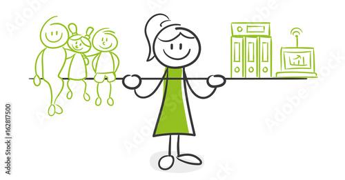 Stick Figure Series Green Woman Frau Im Buro Stockfotos Und