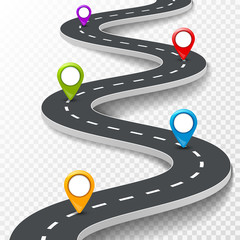 Vector 3d road infographic illustration with pin, pointer. Street information concept. Asphalt road infographic and colorful pins on transparent