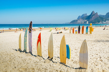 Surf boards lined up in Rio de Janeiro, Brazil