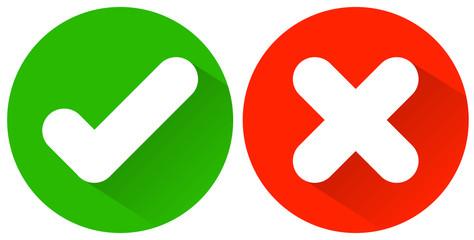 Button Haken grün und Kreuz rot