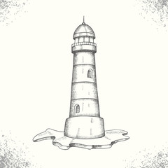 Summer sea adventure. Vintage hand drawn lighthouse. Sketch. Vector engraving illustration.