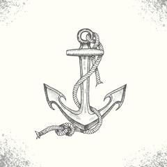 Summer sea adventure. Vintage hand drawn anchor. Sketch. Vector engraving illustration. Symbols for yacht clubs