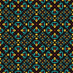Seamless pattern american indian style. Colorful navajo background. Textile geo print.