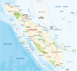 Road map of the indonesian island sumatra