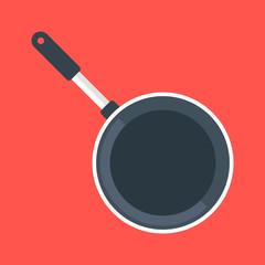 Black frying pan, empty black frypan, skillet. Top view. Vector illustration