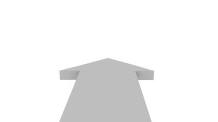 3d illustration weißer pfeil aus vorderansicht