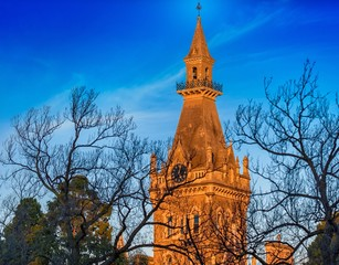 The clock tower of Ormond College at the University of Melbourne, Australia