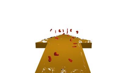 3d illustration, gelber pfeil mit einer Wasserwelle in der Euros schwimmen