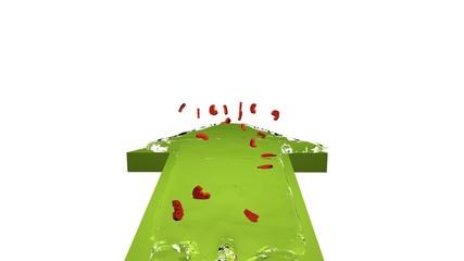 3d illustration grüner pfeil mit einer wasserwelle in der euros fließen