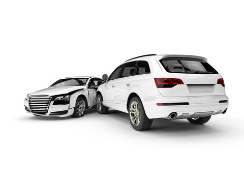 White Wrecked cars in an accident / 3D render image representing an car accident