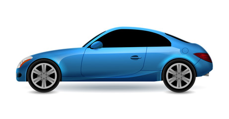Vector blue automobile coupe isolated profile side view. Luxury modern sedan transport auto car. Side view car design illustration