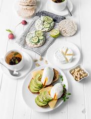 Healthy breakfast with wholebread toasts, avocado, eggs