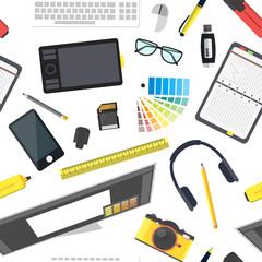 Cartoon Designer Workplace Background Pattern. Vector
