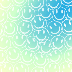 Smile face pattern with pastel colorful smileys for textiles background. Smiles icon background. design vector.
