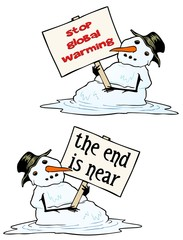 Melting Snow man pleads for change