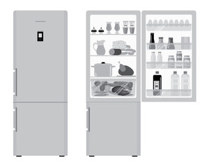 Fridge with open doors, a full of food. Vector flat illustration in gray tones