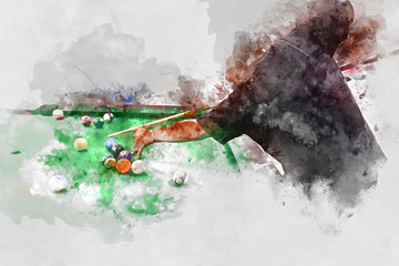 Abstract playing pool, man playing snooker ball on watercolor background.