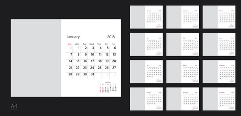 Vector design template of calendar for 2018 year.