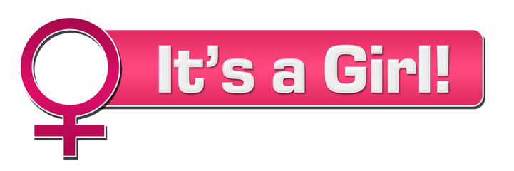 Its A Girl Female Symbol Pink Horizontal