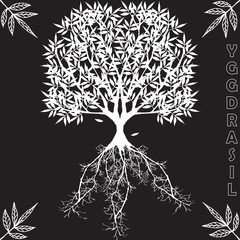 Yggdrasil – vector World tree from Scandinavian mythology. Black and white version of big ash as a symbol of the universe
