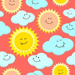 Cartoon sun and clouds. Seamless vector pattern.