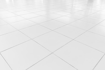 White tile floor clean condition with grid line for background. Fototapete