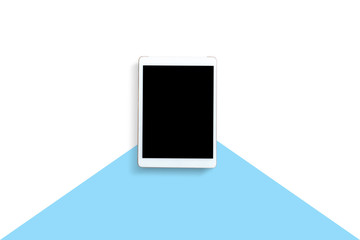 Tablet or mobile phone with black screen on white and blue background