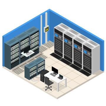 Interior Server Room Isometric View. Vector