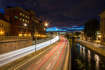 Scenic summer night view of city traffic. Stockholm, Sweden.