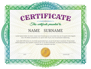 Green diploma border design for personal conferment. Best vector image for award, patent, validation, license, education, authentication, achievement, etc