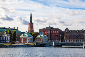 STOCKHOLM, SWEDEN - SEPTEMBER 17, 2016: Gamlastan and Town Hall. Panoramic view with bridge