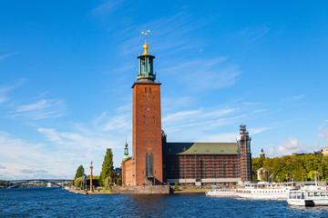 STOCKHOLM, SWEDEN - SEPTEMBER 17, 2016: Town Hall at summer sunny day