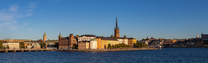 STOCKHOLM, SWEDEN - SEPTEMBER 19, 2016: Scenic summer sunset panorama of the Old Town (Gamla Stan) architecture