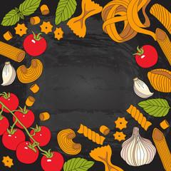 Italian pasta, cherry tomatoes, garlic and basil, on chalkboard texture, hand drawn vector illustration
