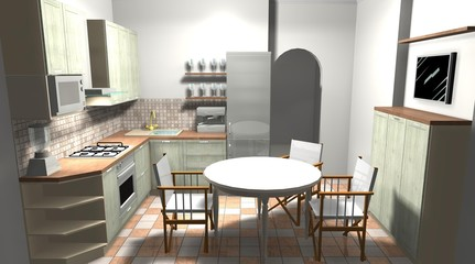 kitchen in the Italian style 3D rendering design interior