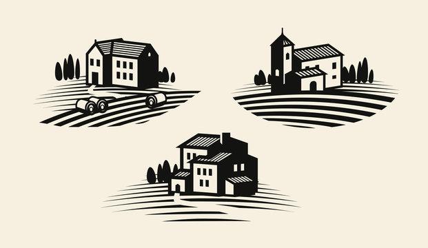 Farm, farming icon or logo. Agricultural industry, viniculture, vineyard label set. Vector illustration