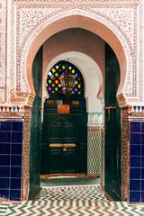 arab style door at marrakech, morocco