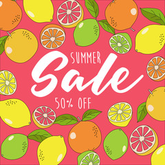 Summer Sale graphic template with oranges, lemons, limes and grapefruits