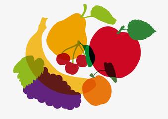 fruit - alimentation - santé - symbole - bio - pomme - banane - raisin - fruits - maraîcher